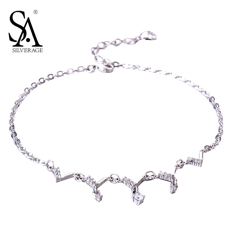 SA SILVERAGE 925 Sterling Silver Anklets For Women Sexy Anklets Jewelry Luxury Pure Silver 925 Jewelry Accessory Girl Gift pair of rhinestoned hollowed leaf anklets