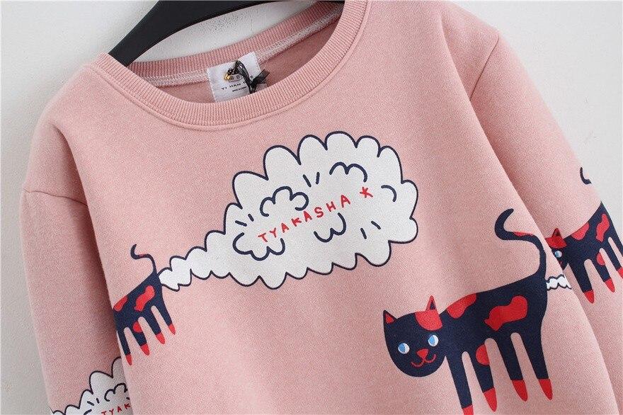 17 New Spring Autumn Sweatshirt Women Tops Plus Size Loose Casual Plus Thick Velvet Cartoon Cat Pattern Sweatshirts Pullovers 8