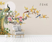 beibehang Customized eco-friendly papel de parede wallpaper Magnolia hand-painted flowers and birds plum background papier peint