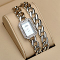 New Arrival Vogue Girls 40CM Long Chain Bracelet Watches Sparkly Crystals Women Dress Wristwatch Square Analog Relojes NW3257