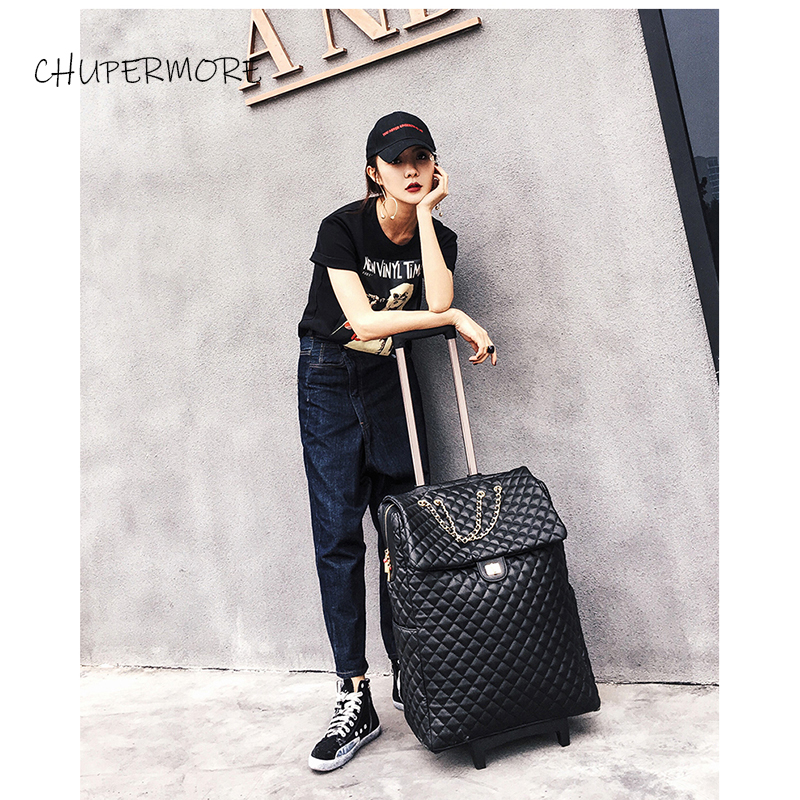 Luxury Women's Fashion Short Trip Leather 18/20 Inch Rolling Luggage Spinner Brand Suitcase Wheels Carry On Travel Bags