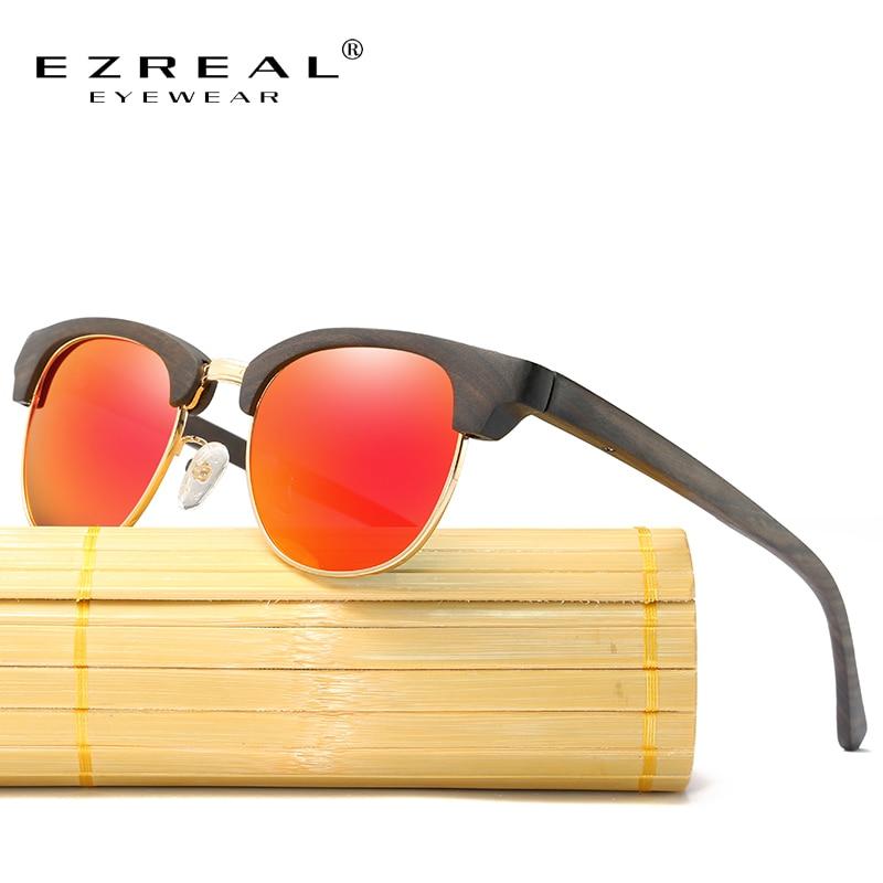 EZREAL Bamboo Sunglasses Female Vintage Half Frame Wood Sunglasses Men Handmade Sun Glasses For Women Oculos de sol feminino 2016 new fashion women vintage sunglasses female glasses outdoor sun glasses oculos de sol feminino