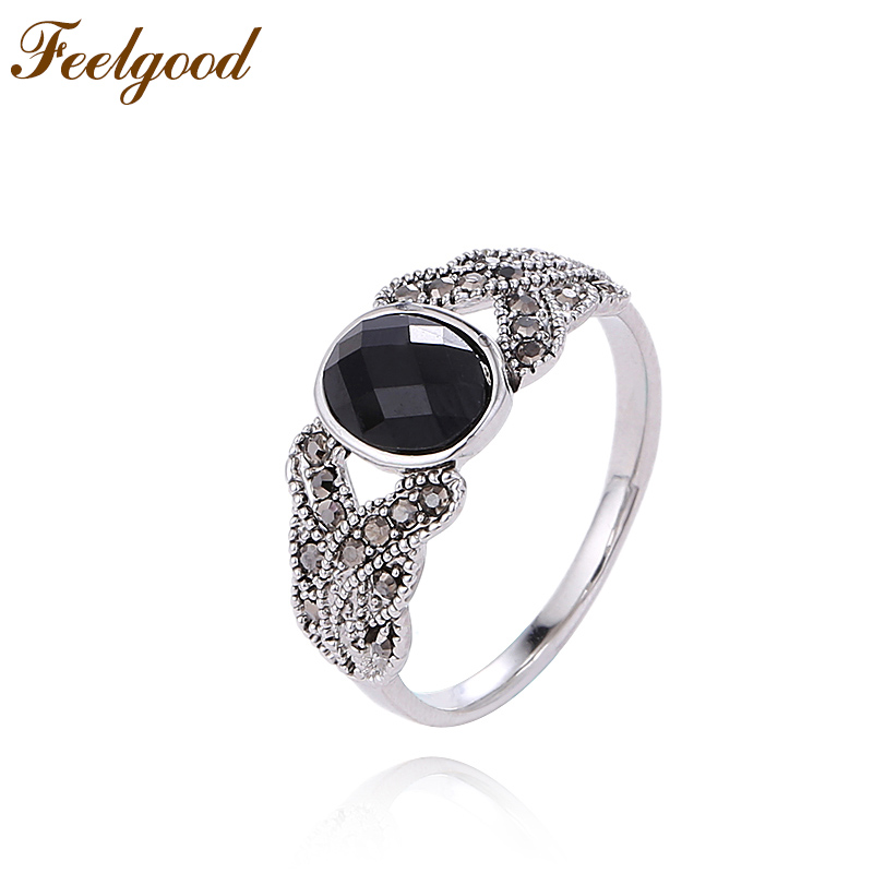 Feelgood Vintage Jewelry Elegant Female Ring Black Crystal Finger Rings For Girl Lady Women Fashion Accessories Christmas Gift
