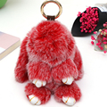 100%Genuine Rex rabbit Furs bag Keychain Charm Cute Rabbit Doll toy Creative POM POM Fur Monster Keychains Accessories Gift