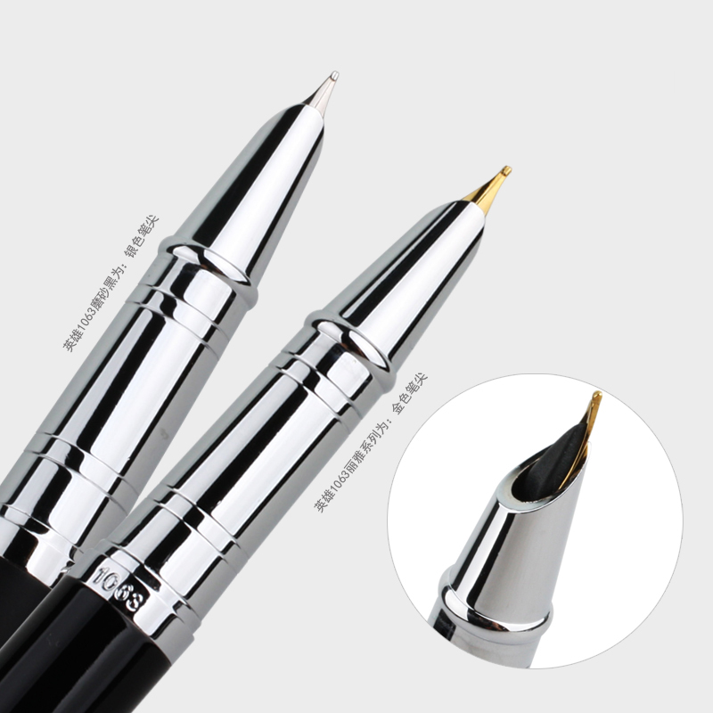 HERO 1063 High Quality Silver Clip Metal Fountain Pen with 0.38mm Extra Fine Nib Financial Ink Pens with Gift Box Free Shipping fountain pen m nib hero 1508 dragon clip signature pens the best gifts free shipping