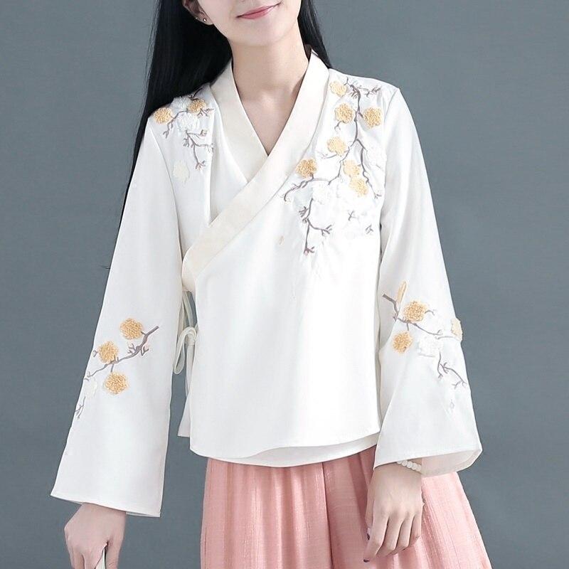 Chinese traditional costume cheongsam top linen shirt women elegant cotton and linen mandarin collar blouses AA4639