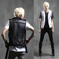 Men's Slim Fit Vests Turndown Collar Waistcoat Side Zipper Design Motorcycle Vest Male Punk Jacket Coat