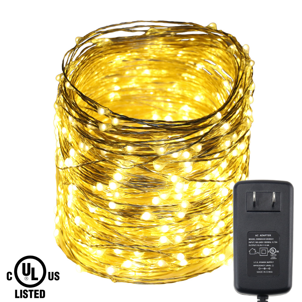 50M/165FT 500LEDs Silver Wire Warm White LED String Lights Starry Lights Xmas Wedding Fairy lights+UL GS CE Certified Adapter