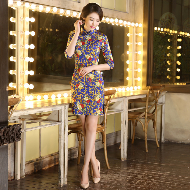 New Autumn Dress Half Sleeve Cheongsam Dress Sexy Silk Double Qipao Dresses  Women Traditional Chinese Clothing bda4e08c48cf