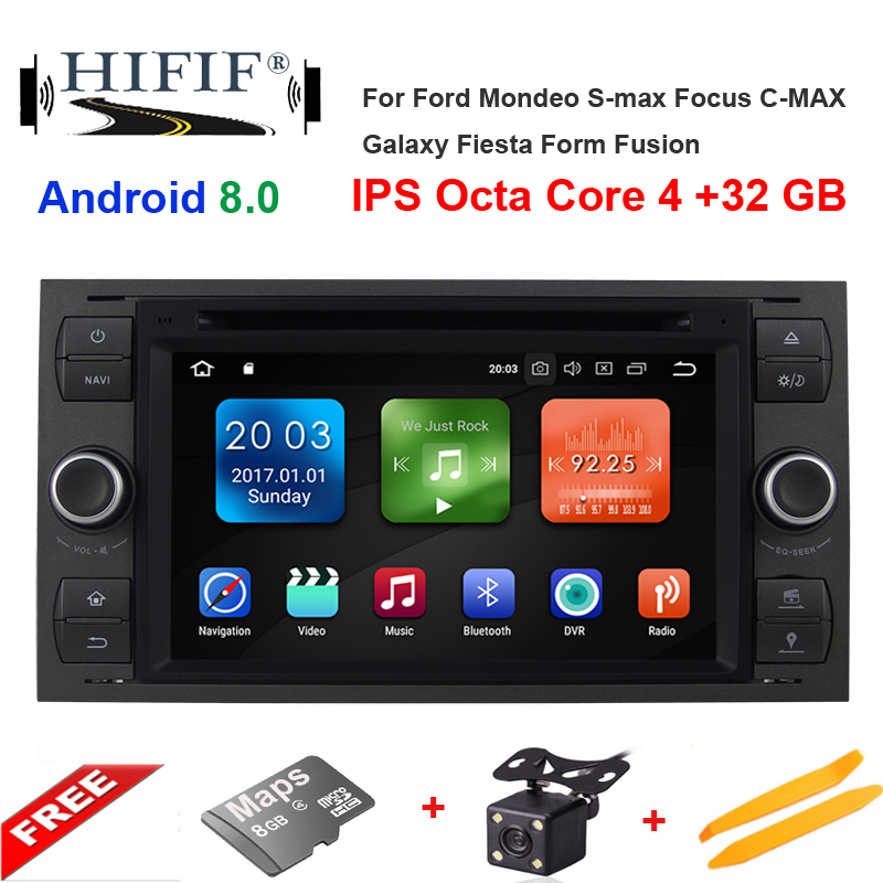 4G 2 Din Android 8.0 Car dvd Multimedia Player GPS audio For Ford Mondeo Focus Transit C-MAX S-MAX Fiesta auto radio IPS DSP