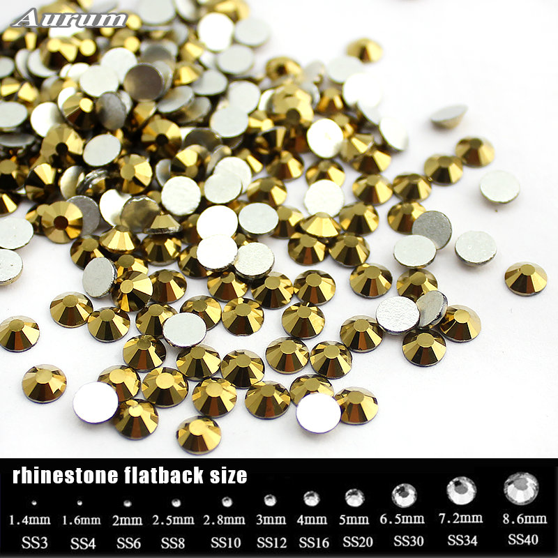 Aurum SS16-SS30 (1440pcs)/pack Color rhinestone for Nail Art Flat back Non Hotfix Glue on Nail Art Rhinestones