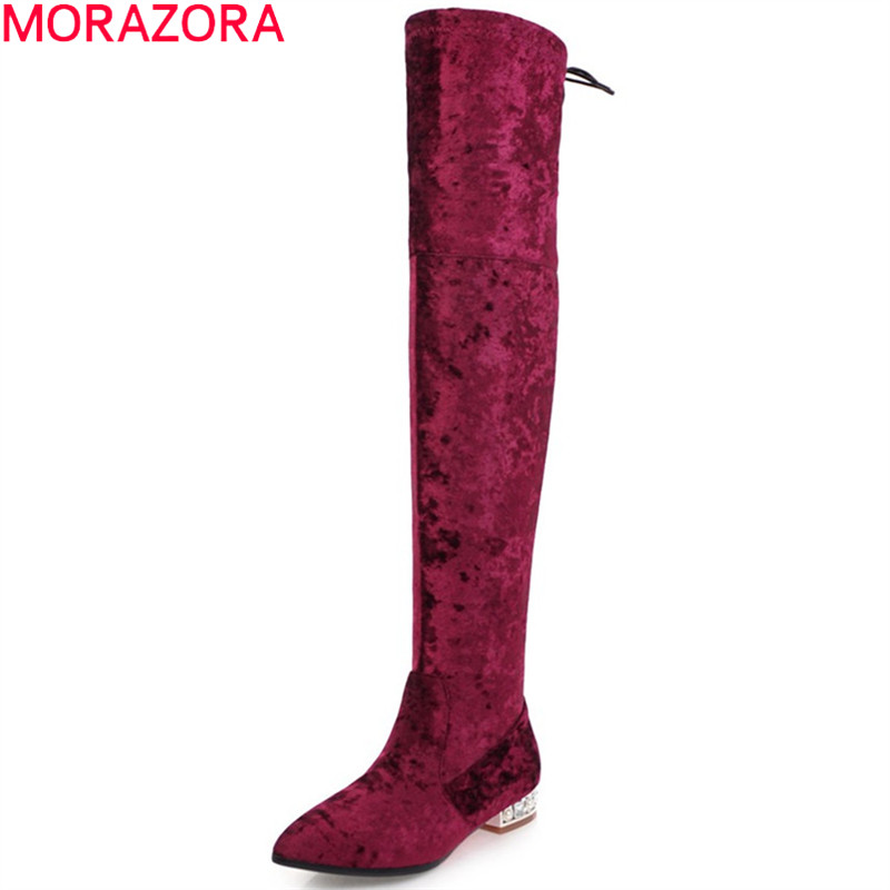MORAZORA autumn winter new arrive women boots pointed toe zipper flock ladies boots square heel cross tied over the knee boots morazora autumn winter new arrive women boots pointed toe zipper flock ladies boots square heel cross tied over the knee boots