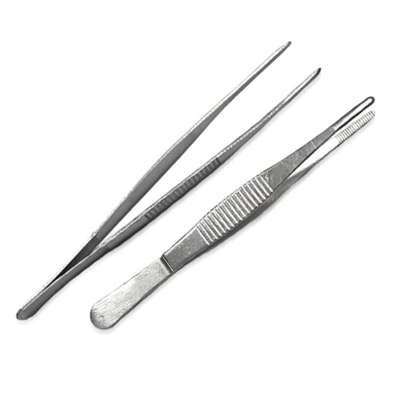 Stainless Steel Dressing Tweezers  Straight/Elbow Tweezers First Aid Kit Accessories Surgery Tweezers Outdoor