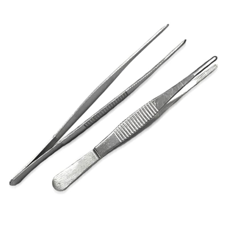 Medical Stainless Steel Dressing Tweezers Medical Straight/Elbow Tweezers First Aid Kit Accessories Surgery Tweezers Outdoor