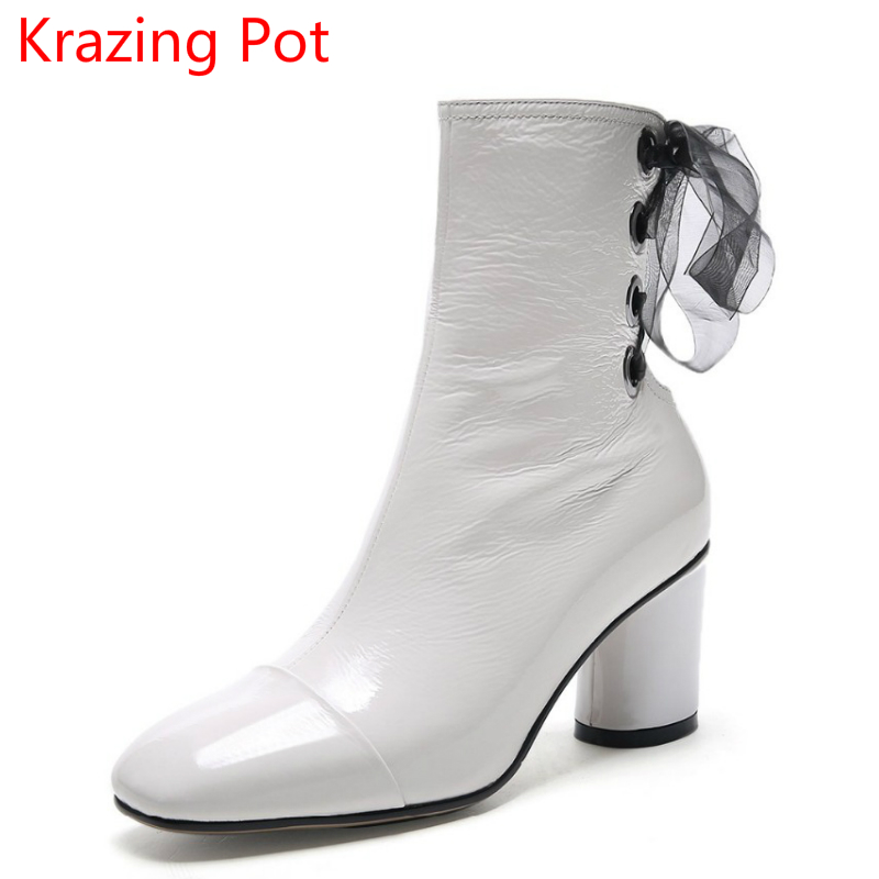 2018 Handmade Patent Leather Winter Boots Streetwear Young Lady Lace Up High Heels Square Toe Zipper Women Mild-calf Boots L61 fashion genuine leather zipper med heel women mild calf boots round toe rivets metal runway handmade luxury motorcycle boots l68