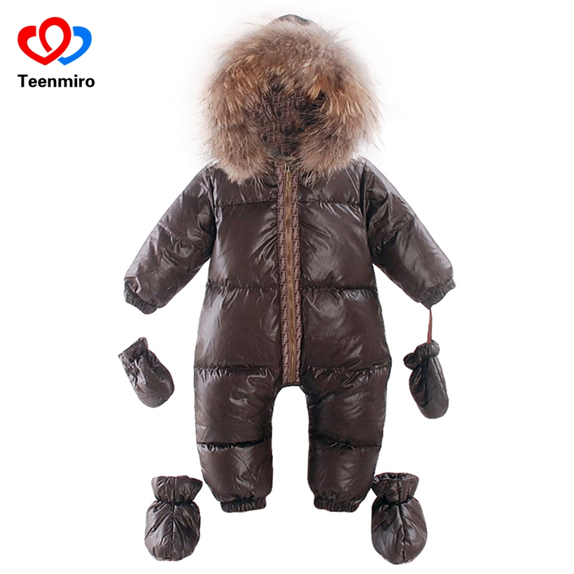 Winter Overalls baby warm clothes Duck Down Rompers Snowsuit Outerwear Boy Snow Wear Children Jumpsuit Girl Real Fur Clothing a15 girls jackets winter 2017 long warm duck down jacket for girl children outerwear jacket coats big girl clothes 10 12 14 year