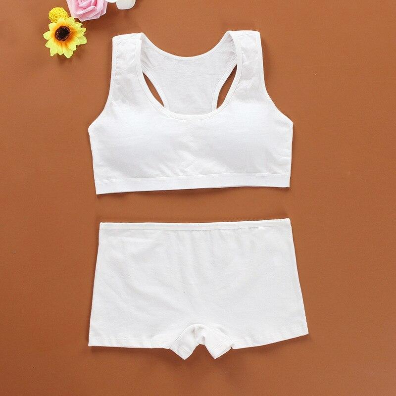 Cotton Bra Set for Teens Training Bras Girls Underwear Set for Teenagers Puberty Girls Underwear Wireless Bra+Underpants Solid 2
