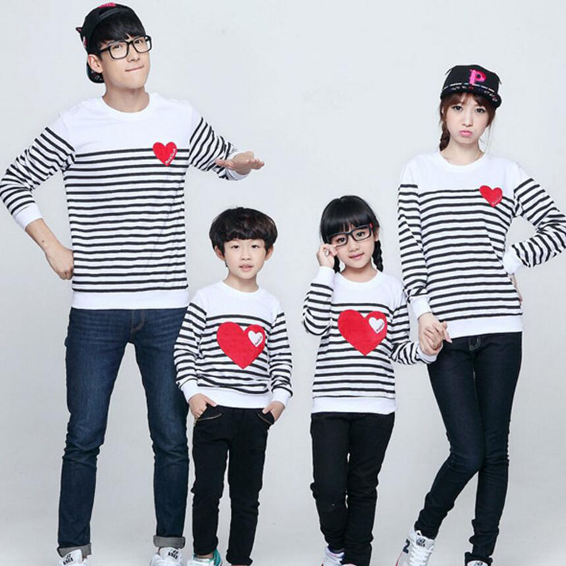 family outfit with heart shirts Tops