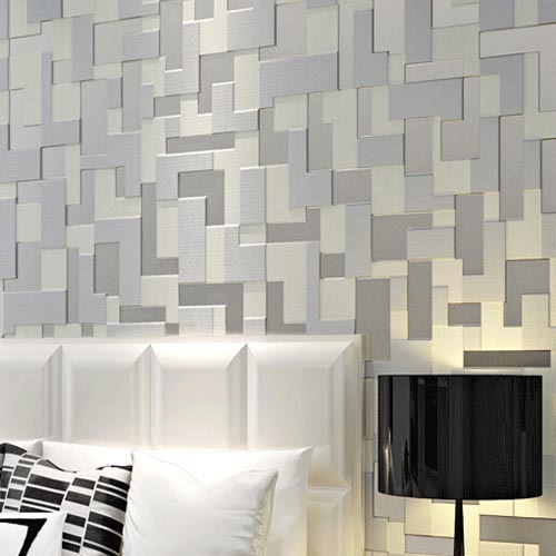 Embossed 3d stereoscopic mosaic wallpaper bedroom modern tv background wall paper non woven grey Modern wallpaper for bedroom