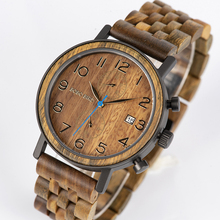 Relogio Masculino BOBO BIRD Wooden Watch Men Stopwatch Wristwatch Male saat erkek With Date Gift In Wood Box цены онлайн