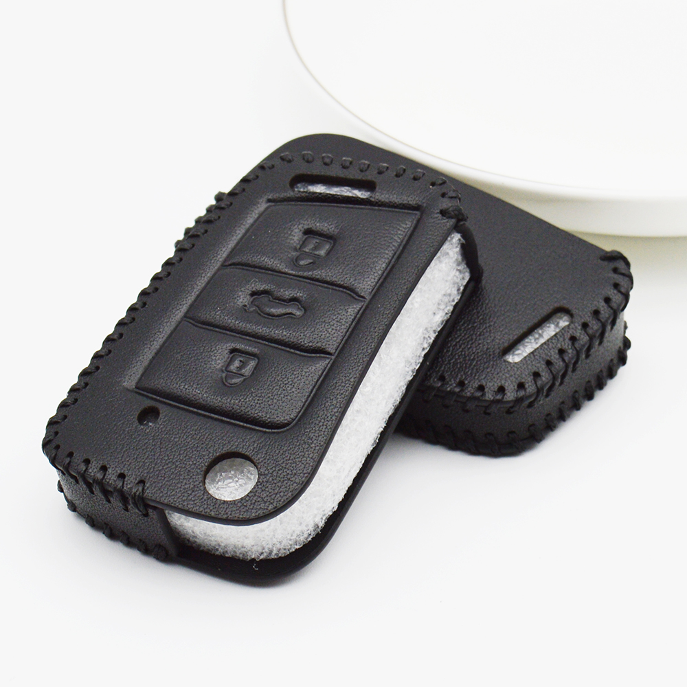 Genuine Leather Car Key Fob Cover For <font><b>VW</b></font> <font><b>Golf</b></font> 4 <font><b>6</b></font> <font><b>GTD</b></font> R 7 Gti 5 Interior Mk7 GTI MK2 MK3 Plus Key Protection Case Accessories image