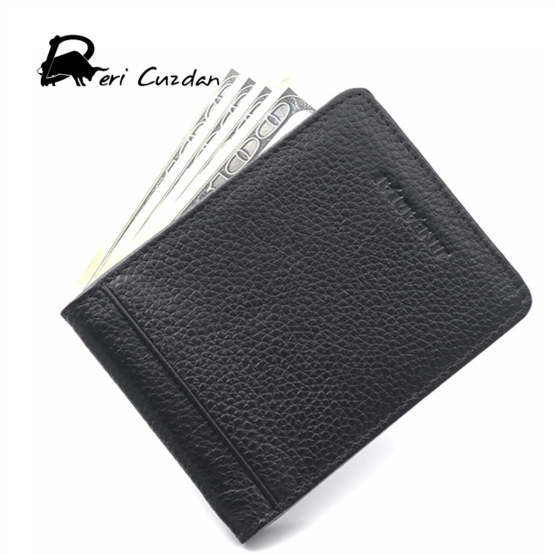 DERI CUZDAN Fashion Genuine Cowhide Leather Mens Wallet Money Clips with card Clamp for  ...
