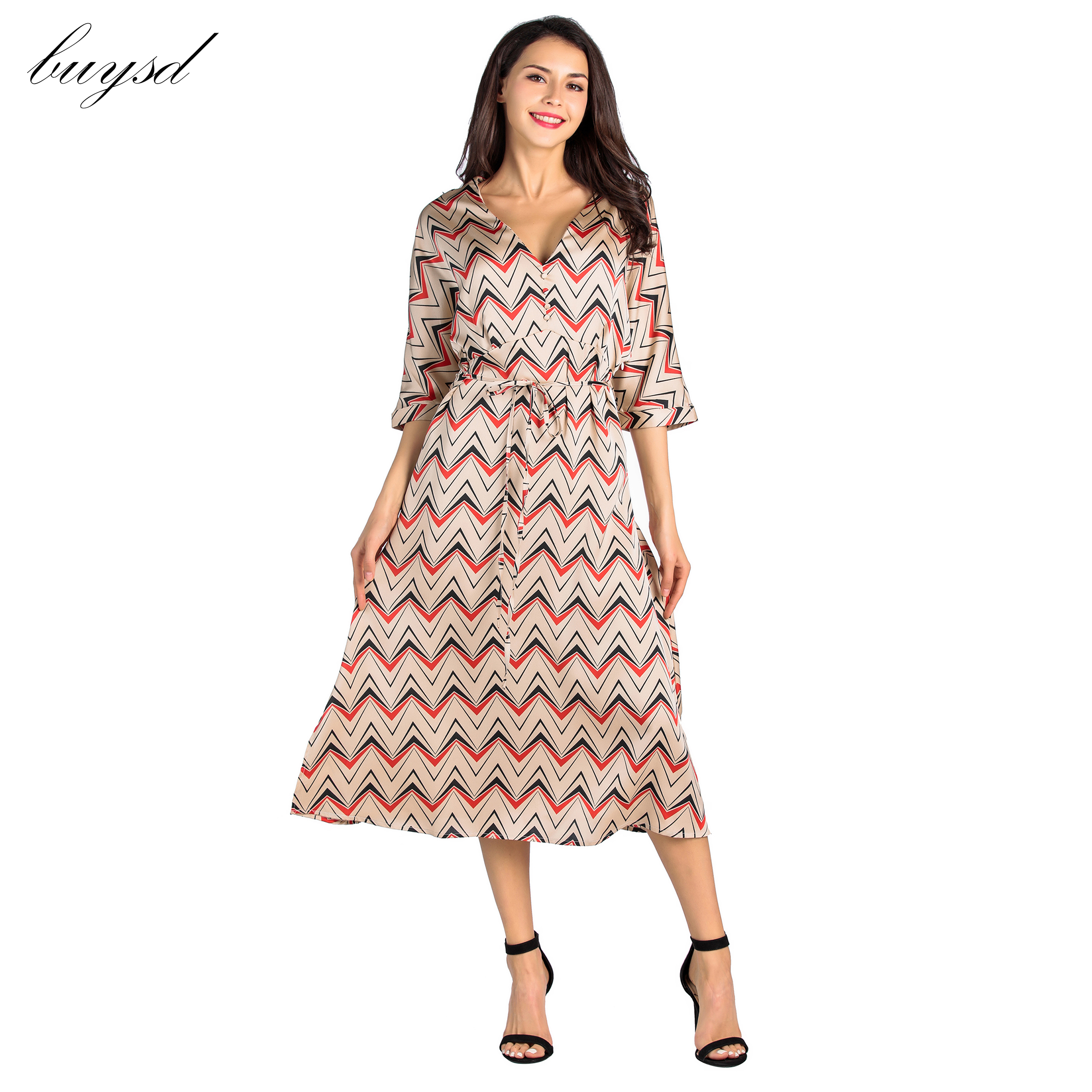Latest model BUYSD 2019 Women boho dresses 1/2 Sleeve Wave Prints Vintage V Neck Party Work Midi women Casual summer Dress