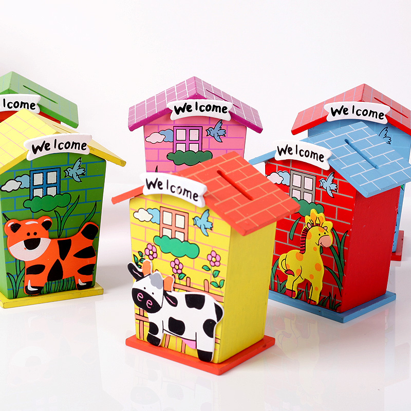 Wood small house personalized kids piggy bank for coins for Craft boxes for children