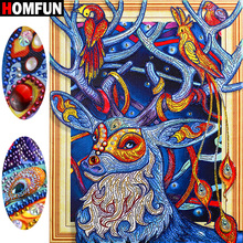 HOMFUN 5D Diamond Painting Animal Special Shape Embroidery Deer Rhinestone Paint By Diamonds Handicraft Gift 40x50cm