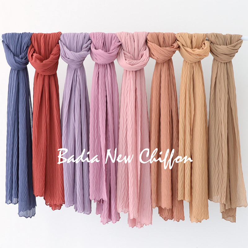 High quality women muslim malaysia crinkle chiffon scarf islamic shawls headwear long wraps pleated solid plain