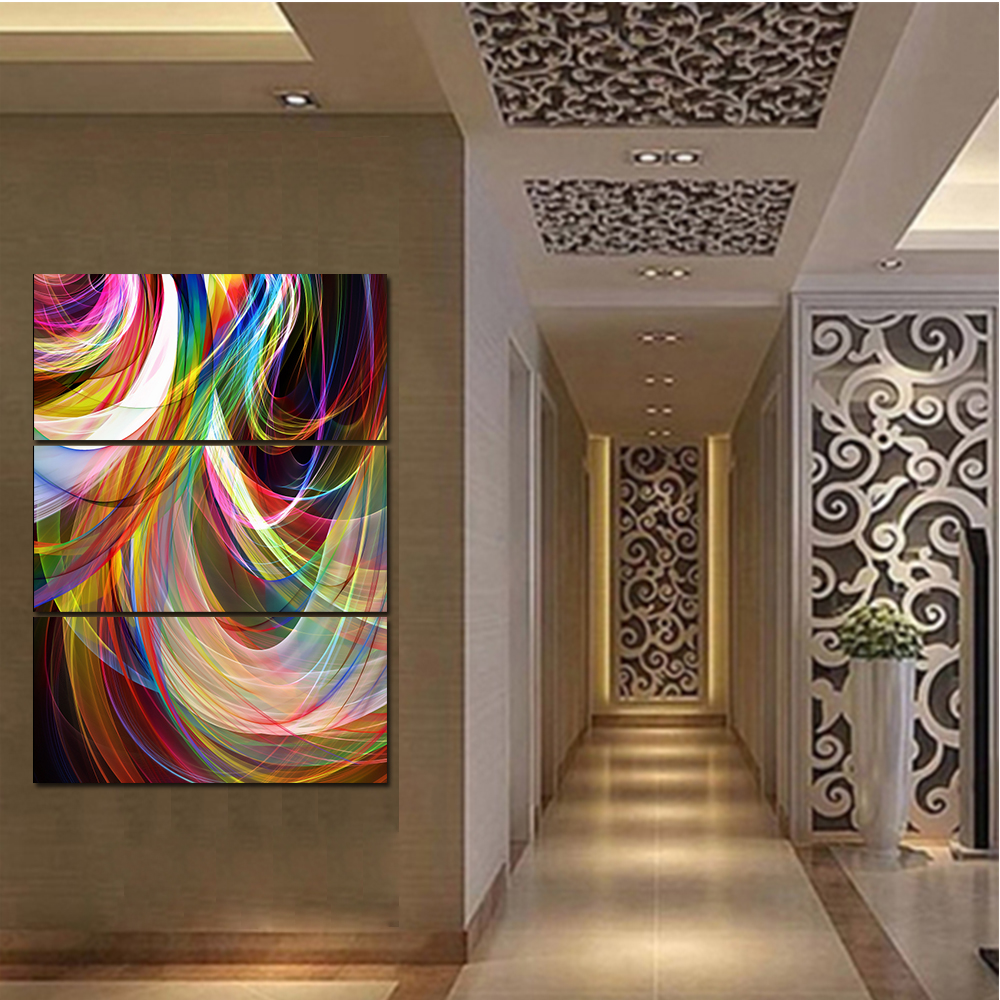 Unframed HD Watercolor Abstract Canvas Painting Living Room Bedroom Color Lines Decorative Painting Unframed Free Shipping