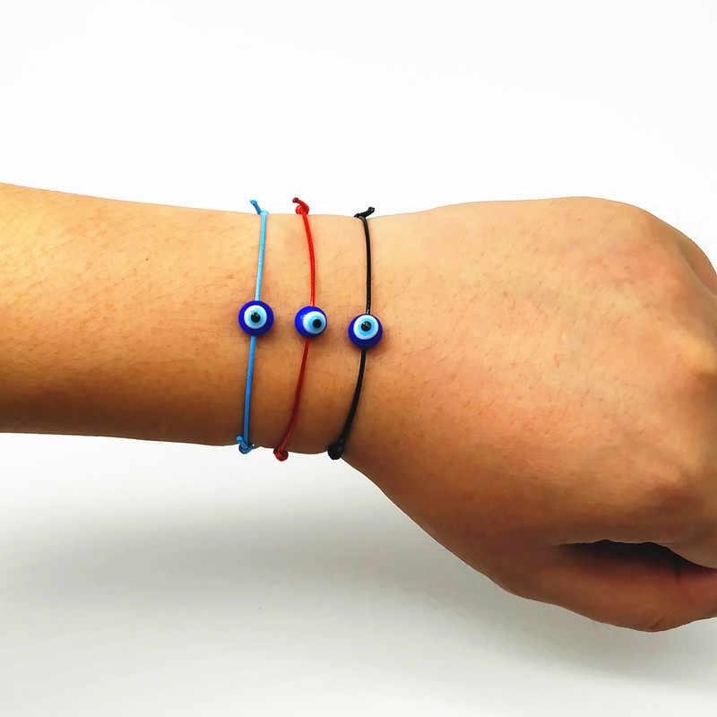 ตุรกีตาสีฟ้าชั่วร้าย Charms สร้อยข้อมือสีดำ String ด้ายเชือกสร้อยข้อมือสำหรับผู้หญิงผู้ชายด้ายเด็ก amulet เครื่องประดับ