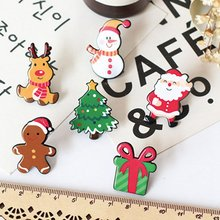 New Christmas Gift Acrylic Badges Pin Brooches Santa Claus Snowman Elk Brooch Pin For Kids T Shirt Sweater Coat Scarf Hat Decor(China)