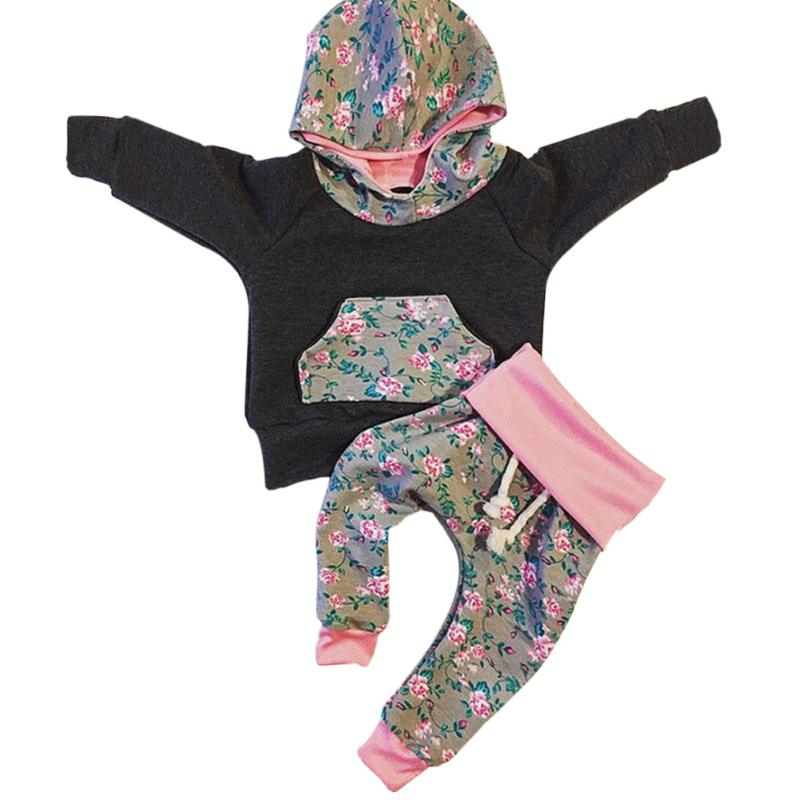 Newborn Infant Baby Girl Hoodie Sweatshirt Tops Long Sleeve Pants Clothing Outfits Set 2 Pcs