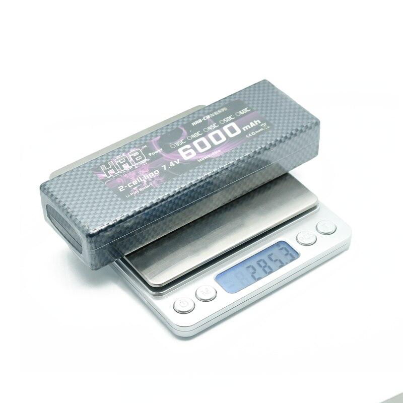 HRB Lipo 2 S batterie 7.4 V 6000 mah 60C Max 120C T plug à 4.0mm balle étui rigide banane connecteur RC batterie pour RC voiture RC pièces - 5