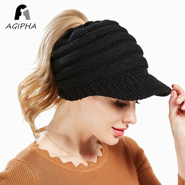 Women Ponytail Beanie Hats Autumn Winter Knit Hat Caps Female Casual Bonnet Cap  Visor Brim Style 8a5c012c874
