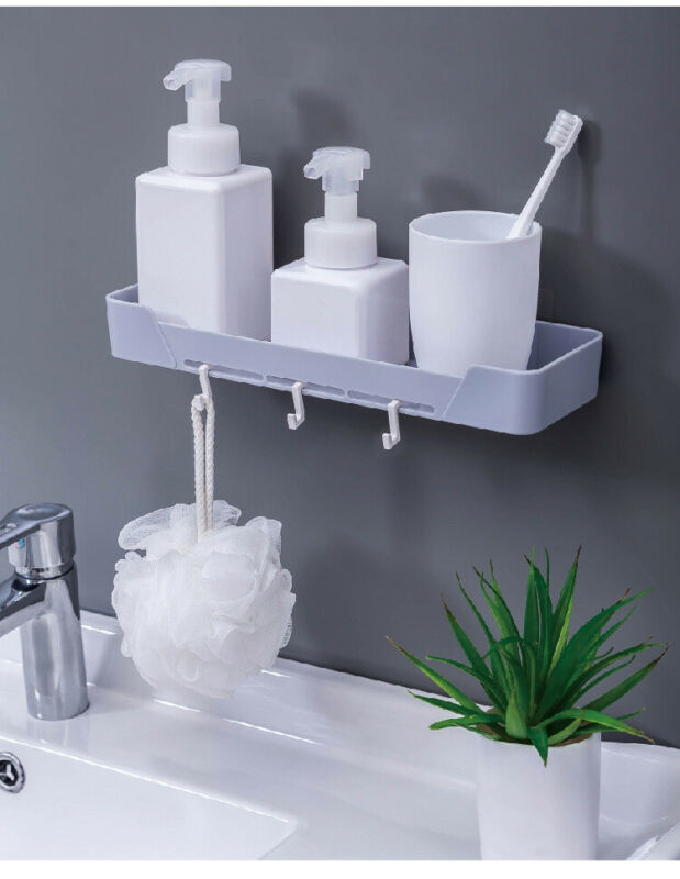 2019 New Bathroom Wall Mounted Shower Shelf Wall Storage Rack Stick Holder Organiser Tidy Suction Bathroom Shelf