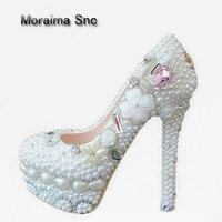 Moraima SNC бренд большие размеры туфли со стразами Лебедь Свадебная обувь с украшением в виде кристаллов белый жемчуг Обувь на высоком каблуке