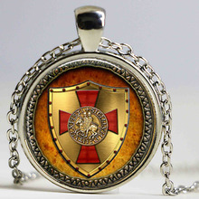 1pcs The Knights Templar pendant jewelry Glass Cabochon Necklace HZ1