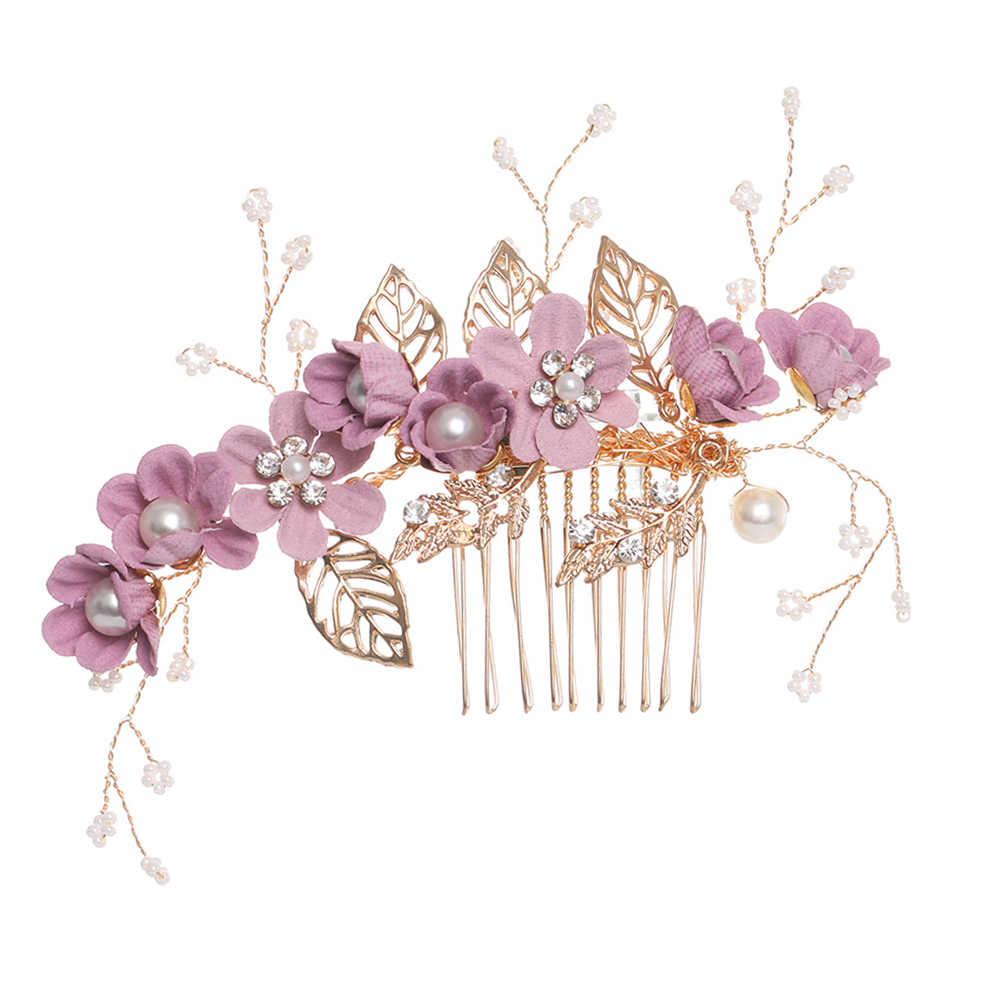 Хит продаж, шикарные, синего и розового цвета с цветочным узором расчески для волос повязка на голову Выходные туфли на выпускной бал свадебные аксессуары для волос, золотистый листья украшение для волос шпильки
