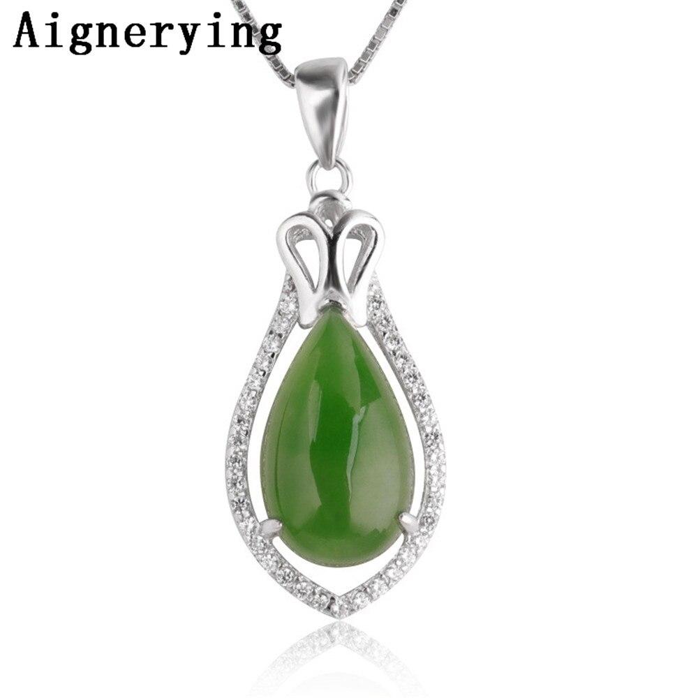 Collier Original certificat 925 pendentif en argent naturel vert Jade Zircon incrusté vert Jade mignon pour femme fille cadeau avec boîte