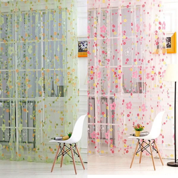 Floral Print Sheer Curtain Panel Window Balcony Tulle Room Divider Curtain Scarf
