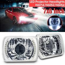 1 шт автомобилей светодиодный фары спереди H6014/H6052/H6054 Chrome 7×6 светодиодный кольцо лампы проектора левый и правый преобразования Shell