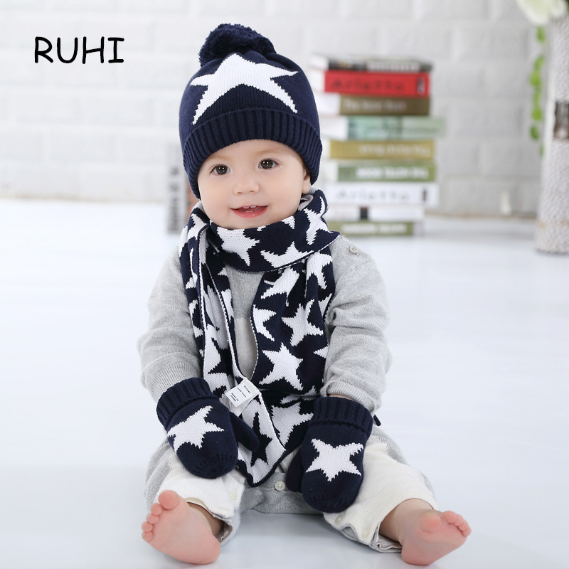 Christmas Gift Boy Girl Hat Scarf And Gloves Set Children Cap Baby Girls Winter Fashion Kids Hats Boys Star Print 3 Pieces Sets autumn winter baby hats new fashion children warm ball hat double color boys and girls cotton caps beanies baby knitted hat