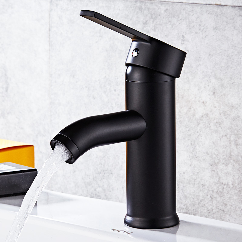 Black paint stainless steel matte washbasin faucet single hole cold and hot water faucet tap wall of the cold and hot water tap copper concealed washbasin single hole basin faucet stainless steel waterfall faucet lt 304 4