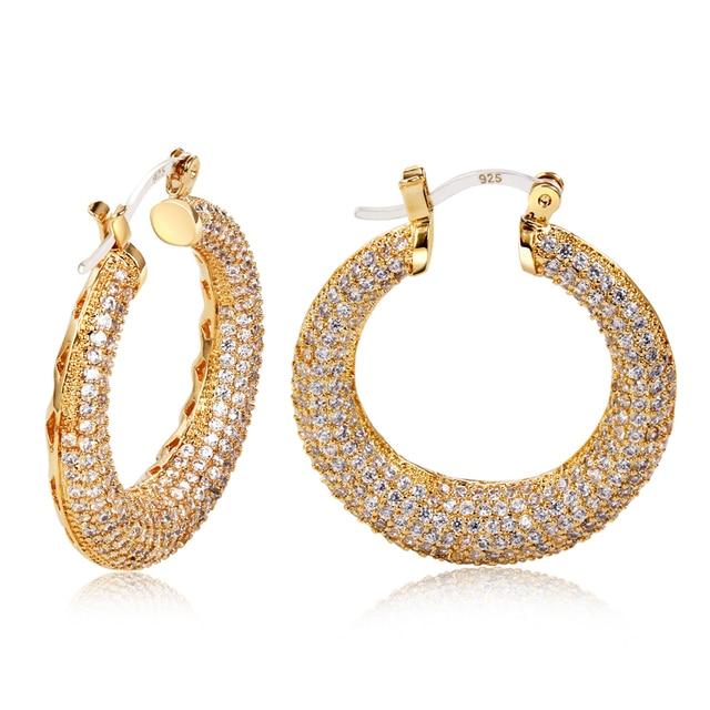 Discount Item Donut shape Design Women Classic Fashion Cubic Zirconia Prong Setting Bridal Jewelry Hoop Earrings