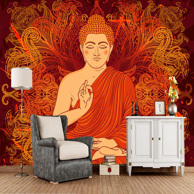 Custom Culture And Art Wallpaper Buddhist Monks Murals For The Living Room Sofa TV Background