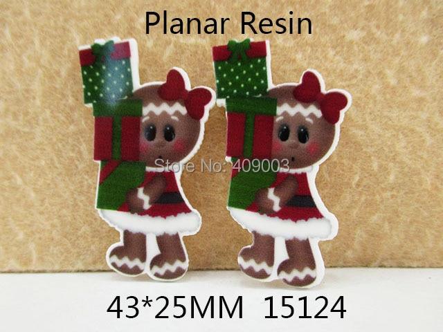 25Y15124 DIY 43*25 мм плоской задней рождественские подарки плоской смолы поделки праздник украшение ремесло скрапбукинга