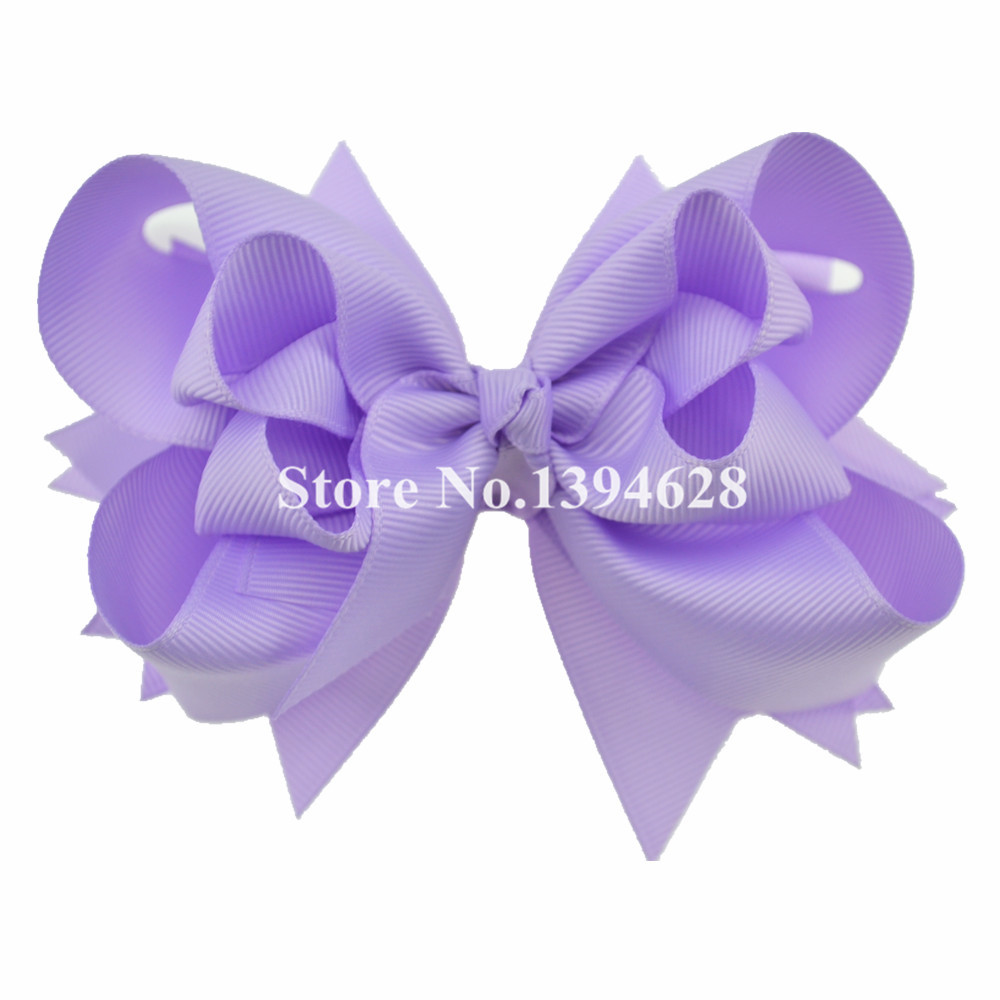 $1/1PCS 5 inches 3 Layers Solid Lt.Orchid Hair Bows Baby Girls Hair Clips Boutique Ribbon Bows For Girls Hair Accessories