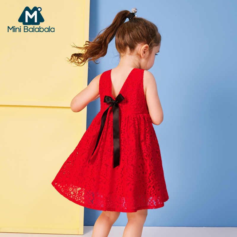 MiniBalabala Criança Menina Sem Mangas Rendas Macio Vestido com Laço na Parte de Trás Dos Miúdos Meninas 100% Algodão Forrado Vestidos Com Decote Em V na volta